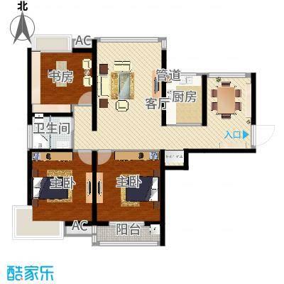 栖里凤台山庄115.00㎡户型2室2厅-副本