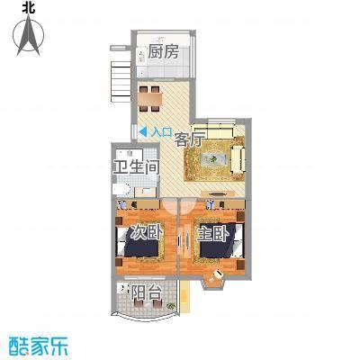 怡江春色H户型2室2厅1卫1厨74.00㎡.jpg