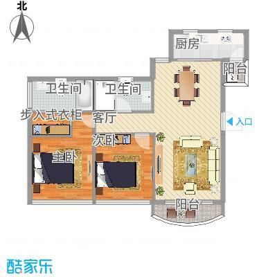 望京人文户型图2室2厅1卫1厨