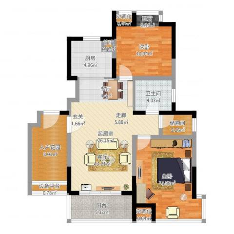 常熟老街93.00㎡GB1舒适两居户型2室2厅1卫-副本-副本