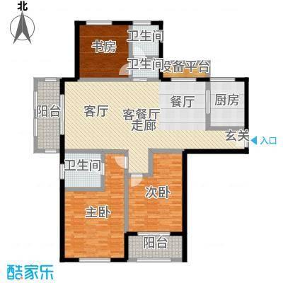 国华天玺140.00㎡E户型3室2厅2卫-副本