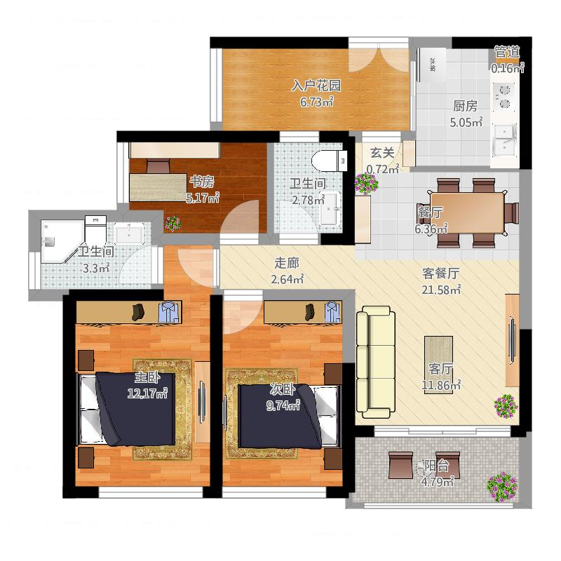 h河畔阳光89㎡(现代2室2厅)kjl黑白灰经典