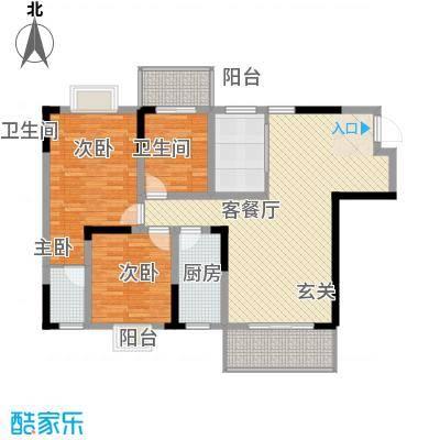 长虹百花沁苑125.62㎡D户型3室2厅2卫1厨-副本