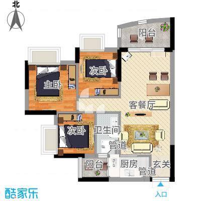 广东工业大学宿舍85.00㎡广东工业大学宿舍3室户型3室-副本