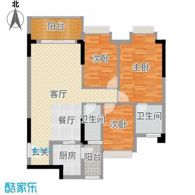 精英世家89.04㎡户型3室1厅2卫1厨-副本