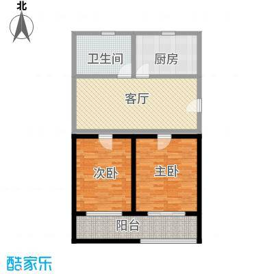 富顿街区户型图4号标准层B型 2室2厅1卫-副本