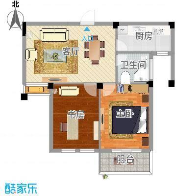 两室两厅一卫中间套两房朝南(舟宿云庭55平米)