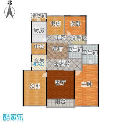 九龙仓国宾1号195.00㎡E户型4室2厅3卫195平米户型4室2厅3卫-副本