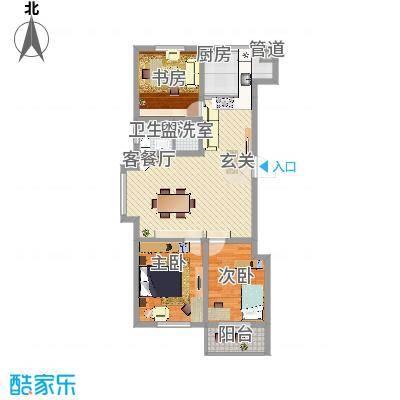 冠华园112.00㎡C标准层户型3室2厅1卫1厨-副本