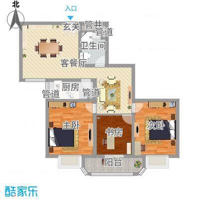滨河小区120.75㎡滨河小区户型图3室2厅户型10室-副本