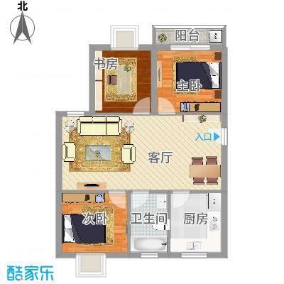 陆嘉家园3室1厅1卫1厨78.00㎡