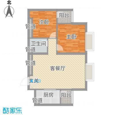 太原奥林匹克花园16#楼一户型2室2厅1卫1厨-副本