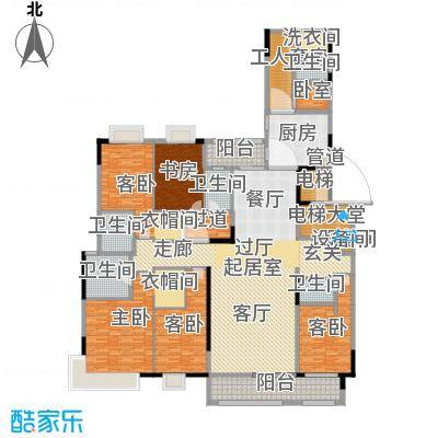 中海龙湾国际303.00㎡A户型 五房三厅四卫+工人套房户型5室3厅4卫-副本