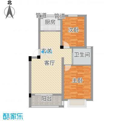 东昌玉龙公馆户型图A1-1户型 2室2厅1卫1厨-副本