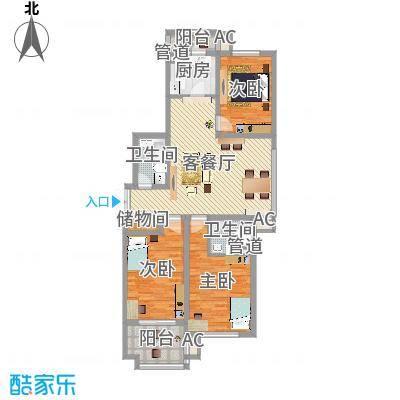 枫丹白露131.23㎡一期8号楼标准层A户型3室2厅2卫1厨-副本