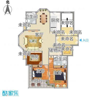 盛世华城小高层三室两厅两卫客厅