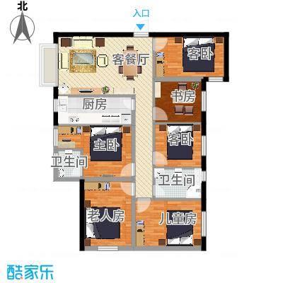 南明苑静和园158.41㎡3室2厅2卫1厨户型3室2厅2卫1厨-副本