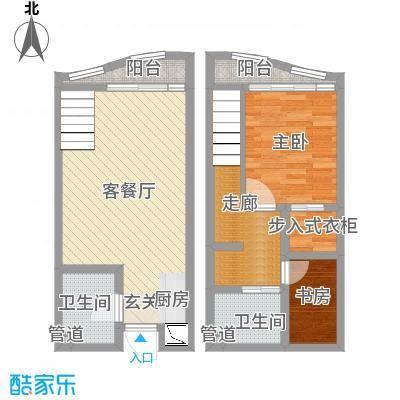 洱海国际生态城48.20㎡B户型2室2厅2卫1厨