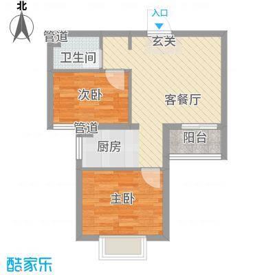 溪林湾・东方新天地65.00㎡户型2室2厅1卫