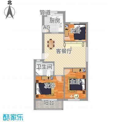 友兰园丁园户型图户型图 3室2厅1卫1厨-副本