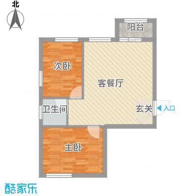 溪林湾・东方新天地73.00㎡户型2室2厅1卫