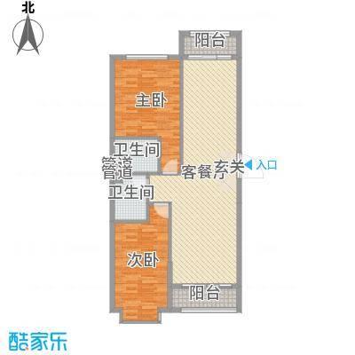 溪林湾・东方新天地108.00㎡户型2室2厅2卫