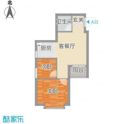 溪林湾・东方新天地60.00㎡户型2室2厅1卫