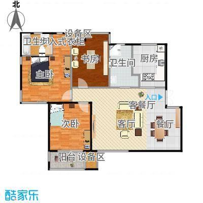滨湖・明珠三房两厅两卫127.63m2户型-副本