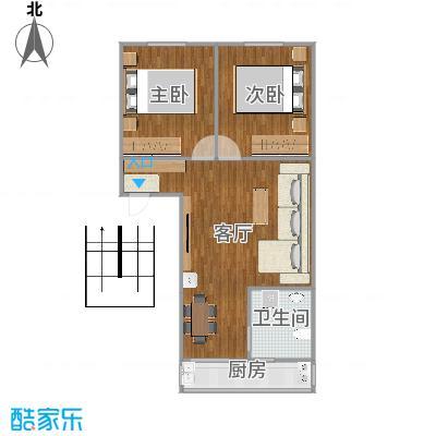 南湖职工新村78平两室两厅户型图