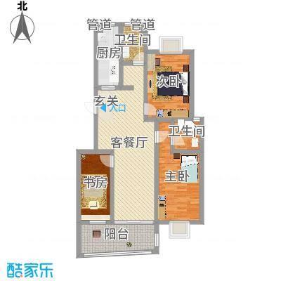 德惠・尚书房112.00㎡一期3号楼标准层G户型3室2厅2卫1厨-副本