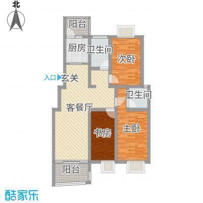 德惠・尚书房114.00㎡一期3号楼标准层I户型3室2厅2卫1厨-副本