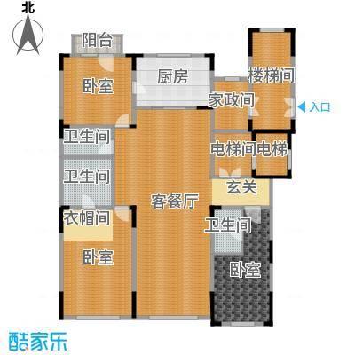 中海紫金苑200.00㎡B户型3室2厅3卫-副本