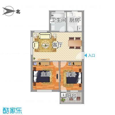 姚江花园2室户型图2室1厅1卫1厨