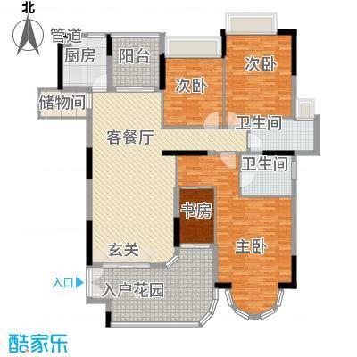 珠光御景湾156.00㎡一期住宅标准层户型3室2厅2卫-副本
