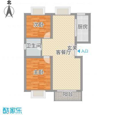 香水湾88.06㎡舒适二居户型2室2厅1卫1厨