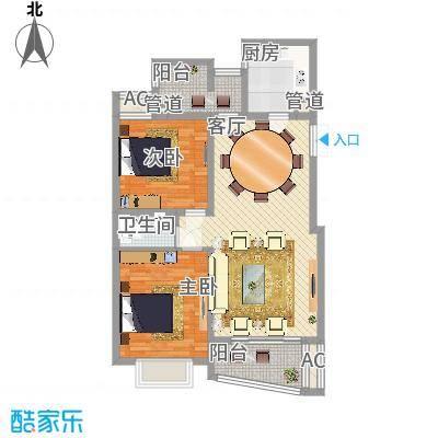 中虹明珠苑110.16㎡05号02室户型2室2厅1卫1厨-副本