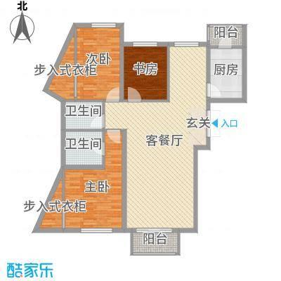 首创・象墅129.00㎡A2户型3室3厅2卫1厨