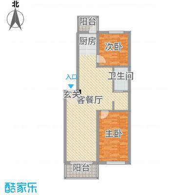 渤海龙江花园89.88㎡A户型2室2厅1卫1厨