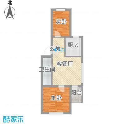 渤海龙江花园58.76㎡户型2室2厅1卫1厨
