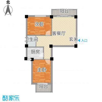 渤海龙江花园82.55㎡幸福满仓户型2室2厅1卫1厨