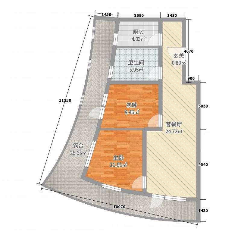海天翼113.08㎡k户型2室2厅1卫1厨户型图大全,装修图