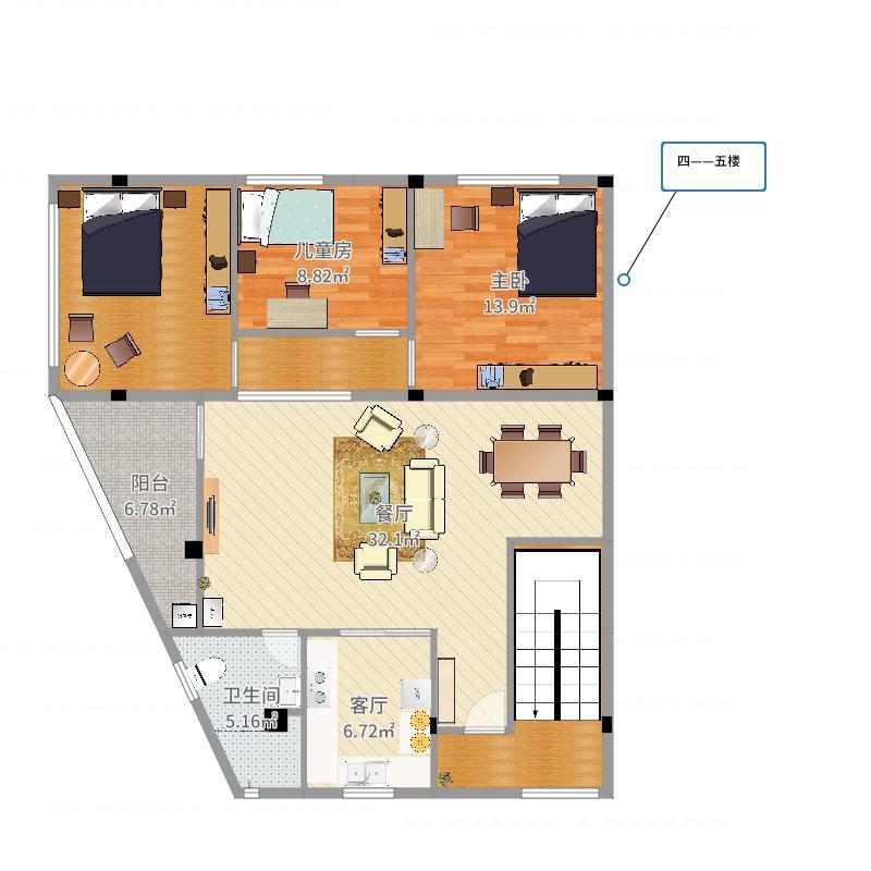 房屋设计图楼梯在东南角