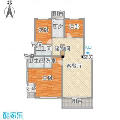 渤海龙江花园127.23㎡户型3室3厅2卫1厨