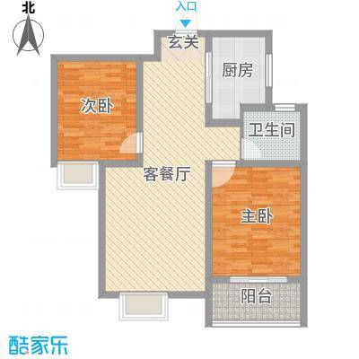 铂宫时代89.01㎡16#A-E-标准层户型2室2厅1卫1厨