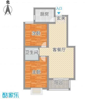 铂宫时代89.42㎡8#标准层B户型2室2厅1卫1厨