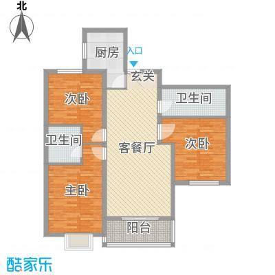 铂宫时代113.90㎡6#B户型3室3厅2卫1厨