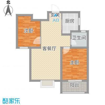 铂宫时代88.71㎡9#D户型2室2厅1卫1厨