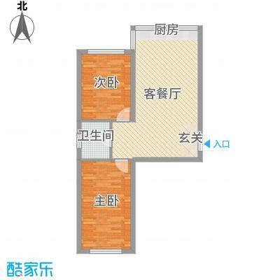铭丰渤海明珠家园75.33㎡户型2室2厅1卫1厨