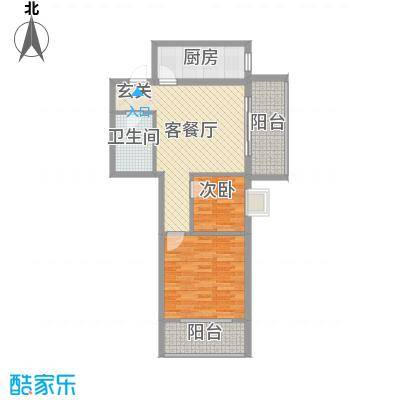 来福花园80.00㎡3#东单元02户型2室2厅1卫1厨