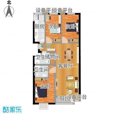 西山枫林130.17㎡三室两厅两卫户型-副本